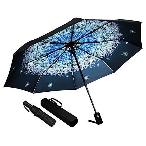 - Umineux  Auto Open Close Umbrella Windproof Folding Umbrella for Women Men, Compact Sun&Rain Travel 10 Ribs Umbrellas