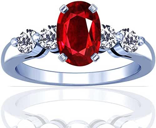 Platinum Oval Cut Ruby Ring With Sidestones (GIA Certificate)