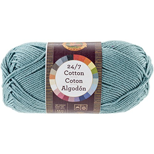 Lion Brand Yarn 761-178 24-7 Cotton Yarn, Jade - Worsted Shine Yarn