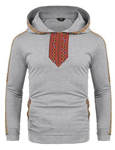 COOFANDY Mens African Printed Stylish Dashiki Casual Long Sleeves Pullover Hoodies