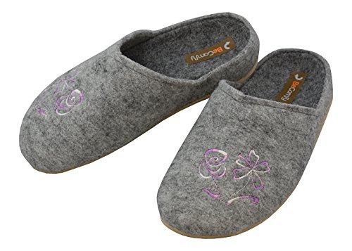 BeComfy Filzpantoffeln mit Fußbett für Damen Gemütliche Grau Hausschuhe mit Stickerei Größe 36 37 38 39 40 41 (38, Fußbett Lila Stickerei)