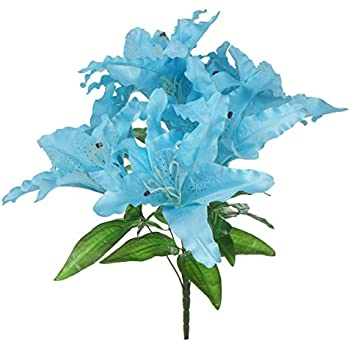 Amazon lily garden large tiger lily 9 head silk flowers bush lily garden large tiger lily 9 head silk flowers bush bouquet artificial blue mightylinksfo