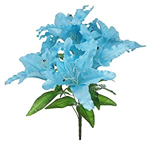 Lily Garden Large Tiger Lily 9-Head Silk Flowers Bush Bouquet Artificial (Blue) 83