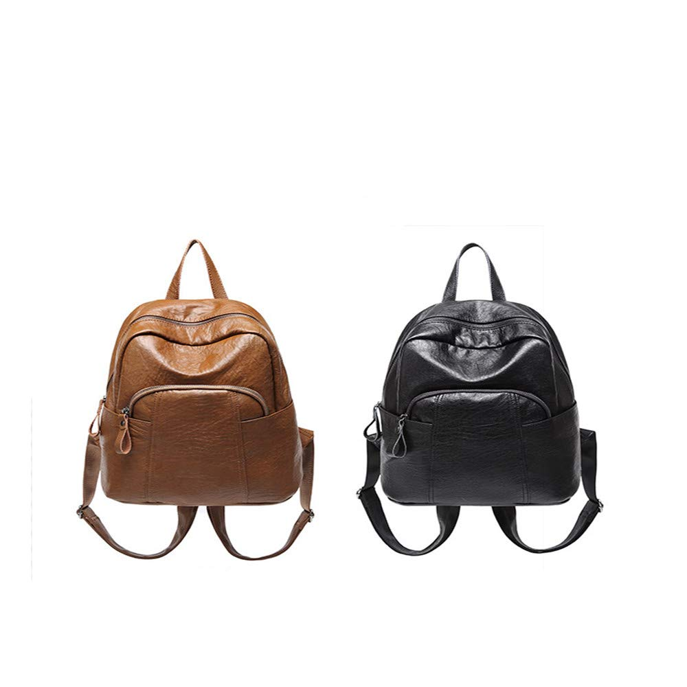 Multipurpose Daypacks Leather Backpack Ladies College Wind Bag Wild Retro Soft Leather Large Capacity Space Leisure Travel Backpack