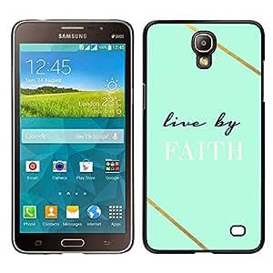 Vivo en la fe del trullo Dios cristiano Cruz - Metal de aluminio y de plástico duro Caja del teléfono - Negro - Samsung Galaxy Mega 2