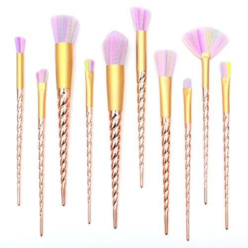 Qivange Unicorn Makeup Brushes, Professional Makeup Brush Set Foundation Powder Eyeshadow Blending with Stylish Handle Colorful Synthetic Bristles(10 PCS, Gold)