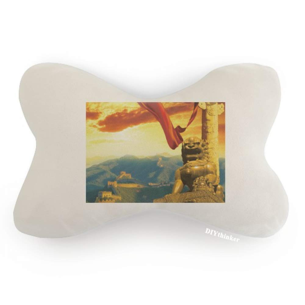 DIYthinker The Great Wall Lion Huabiao Ribbon Car Neck Pillow Headrest Support Cushion Pad