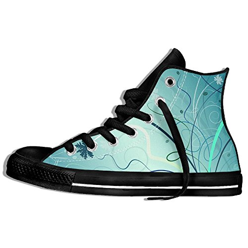 Classic High Top Sneakers Canvas Shoes Anti-Skid Abstract Art Casual Walking For Men Women Black SCSnzv