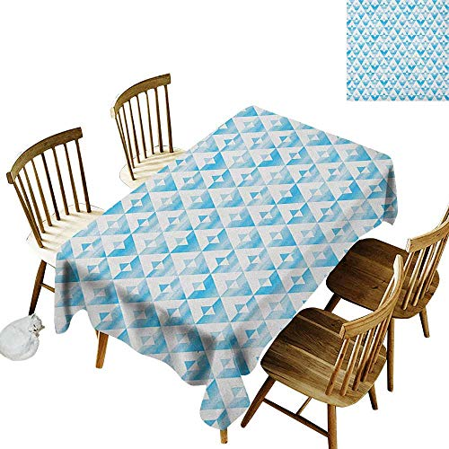 kangkaishi 3D Printed Long Tablecloth Desktop Protection pad Geometric Contemporary Shapes Triangle Line with Clear Cloud Backdrop Image W60 x L126 Inch Pale and Baby Blue ()