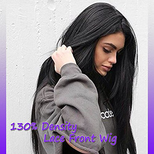 Long Straight Lace Front Wigs 100% Remy Human Hair for Black Women Natural Unprocessed Virgin Brazilian Lace Wig (20 inch with 130% density, off black) ()