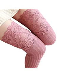 Clearance Sale Crochet Lace Trim Cotton Knee High Knit Leg Warmers Boot Socks
