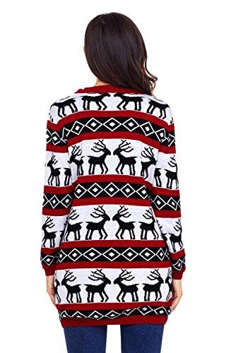 Nuovo da donna rosso renna lungo inverno cardigan giacca Club Wear calda maglia taglia UK 14–16EU 42–44