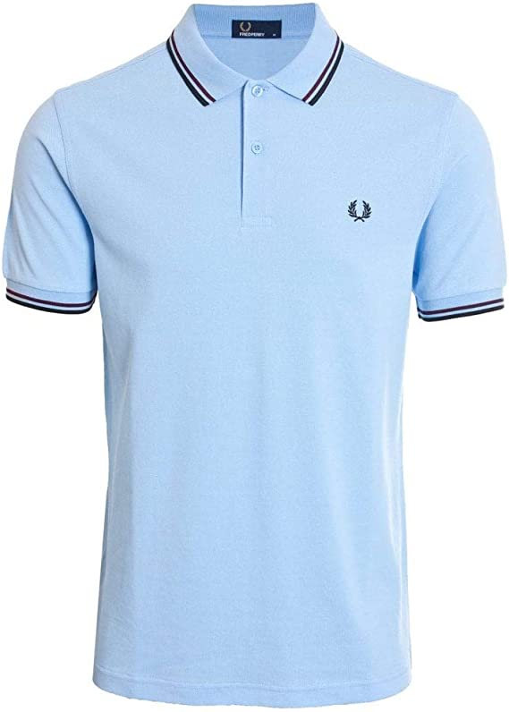 Fred Perry - Camiseta de manga corta con doble punta, color azul y ...