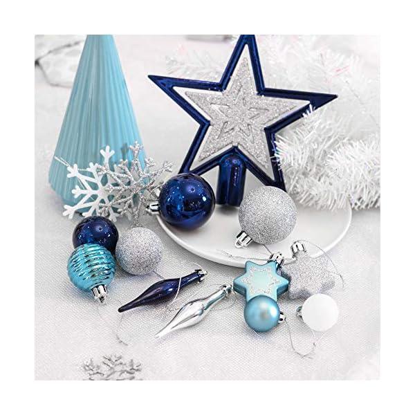 Valery Madelyn Palle di Natale 52 Pezzi di Palline di Natale, 3-5 cm Auguri Invernali Argento e Blu Infrangibili Ornamenti Palla di Natale Decorazione per la Decorazione Dell'Albero di Natale 6 spesavip