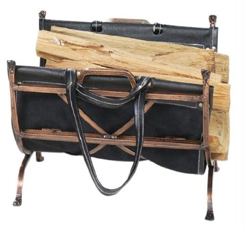 Exclusive By UniFlame Antique Copper Wrought Iron Log Holder W/ Blk Leather ()