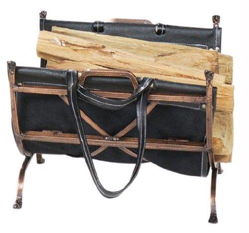 UniFlame Antique Copper Wrought Iron Log Holder with Black Leather Carrier - Antique Log Holder