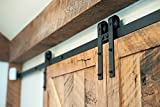 Vancleef 8FT Double Door Kit Sliding Barn Door Hardware, Classic Design, Industrial Strength, Black Rustic, Interior and Exterior Use, With Quiet Glide Roller and Descriptive Installation Manual