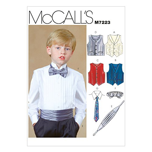 McCall's Patterns M7223 Children's/Boys' Lined Vests, Cummerbund, Bow Tie and Necktie Sewing Template, CHJ (10-12-14) (Sewing Vest Lined)