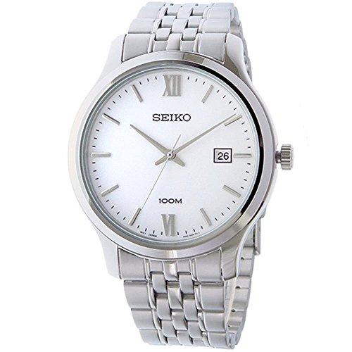Seiko-Mens-41mm-Steel-Bracelet-Case-Quartz-White-Dial-Analog-Watch-SUR217