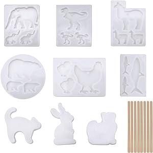 Younmi 9 PCS Silicone Animal Keychain Molds with 8 Pcs Wood Sticks, Shiny Resin Epoxy Clay Molds for Jewelry Making Tool, Bear, Llama, Cat, Hen, Dinosaur, Shark, Elephant, Bull Head Shape