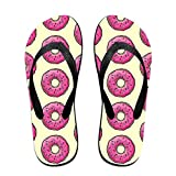 Couple Slipper Doughnut Print Flip Flops Unisex Chic Sandals Rubber Non-Slip House Thong Slippers