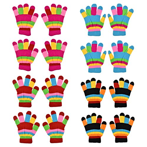 Gloves Magic Childrens (Kids Striped Magic Gloves Winter Gloves - Set of 8 - Periwinkle)