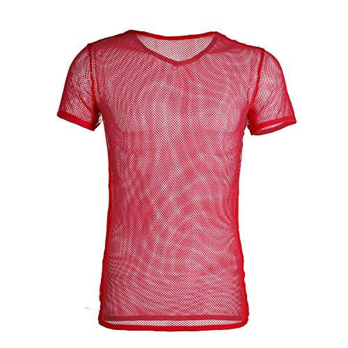 Freebily Men's Sheer Mesh See Through Fishnet Clubwear Vest Shirt Sport Tank Top Undershirt Red Large
