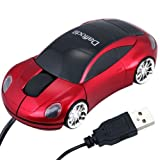 Daffodil WMS207R Wired Optical Mouse - 3 Button Car Shaped PC Mouse with Scrollwheel and LED Lights - For Laptop / Netbook / Desktop Computers - Supported by: Microsoft Windows (7 / XP / Vista) and Apple MAC (OS X +) - Novelty Porsche Shaped Mouse
