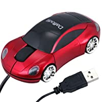 Daffodil WMS207R Wired Optical Mouse - 3 Button Car Shaped PC Mouse with Scrollwheel and LED Lights - For Laptop / Netbook / Desktop Computers - Su
