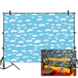 Allenjoy 7x5ft Polyester Blue Sky White Clouds Children Birthday Decor Backdrop Boys Airplane Theme Cake Table Banner Pilot Party Decorations Kids Photography Background Photo Studio Props