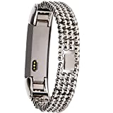 """Wishteta Replacement Accessory Metal Watch Bands for Fitbit Alta (Light Metal-0000001, 5.5""""-7.8"""")"""
