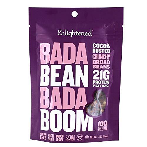 Enlightened Bada Bean Bada Boom Crunchy Borad Beans Snacks, Cocoa Dusted, 3 Ounce ()