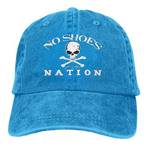 Unisex Adults Vintage Washed Baseball Cap Adjustable Dad Hat - No Shoes Nation Blue from Gupmaster