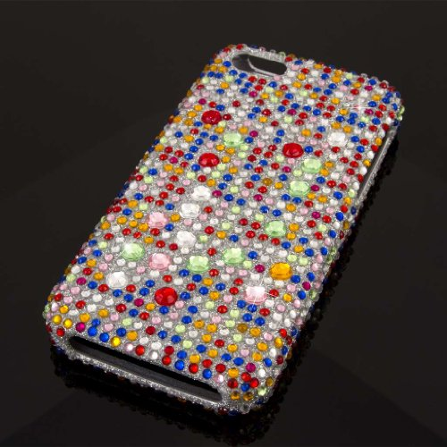 MPERO Collection Diamante Bling Argent Multi Colored Case Étui Coque for Apple iPhone 5C