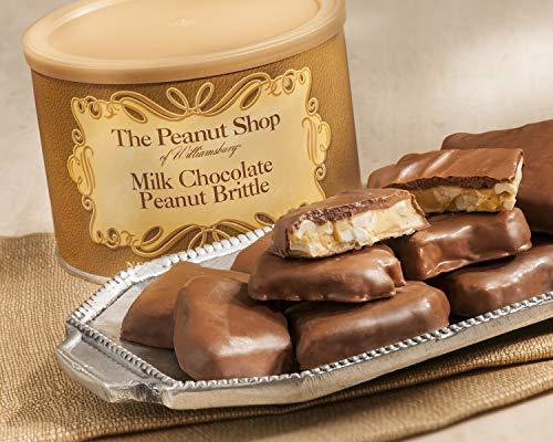 The Peanut Shop of Williamsburg Chocolate Covered Peanut Brittle, 20-Ounce Tin