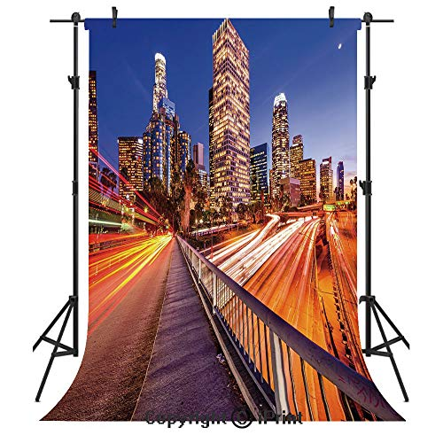 Night Photography Backdrops,USA Downtown City Skyline Over The Highway Los Angeles California Travel Destination,Birthday Party Seamless Photo Studio Booth Background Banner 3x5ft,Multicolor -