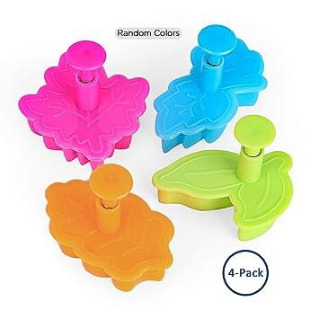 Molde para pasteles con forma de hojas de Cara, molde para hornear tartas, cortador de galletas, color al azar, juego de 4: Amazon.es: Hogar