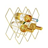 Feiren Outdoor 10 Metal Wine Bottle Wine Rack, Free Standing Holder, Rack Classic Style Space Saver Perfect for Bar Wine Cellar Basement Cabinet Metal Brushed Gold and Geometric Design