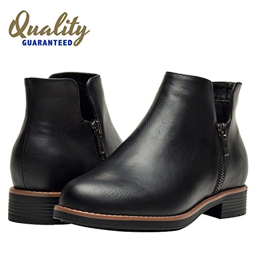 Accurate Boot (Aukusor Women's Ankle Boots, Short Boots For Ladies With Low Chunky Block Heel, Slip On Side Zipper Boots For Girls, Black Brown Boots For Women.(Black, 38))