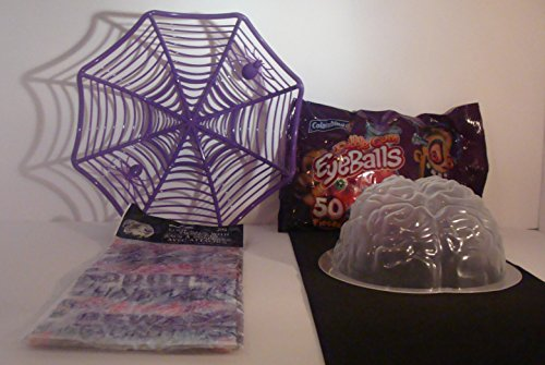 Halloween Party Supply Pack Includes Brain-Shaped Gelatin Mold, Spider Web Basket, 50 Count Bag Bubble Gum EyeBalls and 25 Count Loot Bags. for $<!--$15.99-->