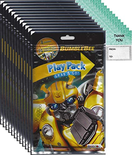 Transformers Bumble Bee Grab n Go Play Packs (12 Packs) Party Favors and 12 Thank You Cards