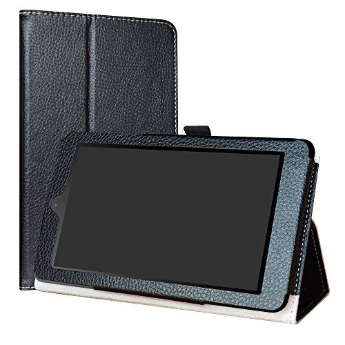 "Nook Tablet 7 2016 Case,LiuShan PU Leather Slim Folding Stand Cover for 7"" Nook Tablet 7 2016 BNTV450 Android Tablet(do not fit Other Tablet),Black"