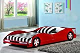 Kids Youth Race Car Bed, Red Finish, Children's Bedroom Furniture, Simply Design, Twin Size, Made from Wood, Bedding, Bundle with Expert Guide ''Happiness, Health and Better Life''
