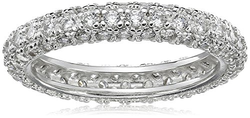 Sterling Silver Cubic Zirconia Pave Eternity Band Ring, Size 8