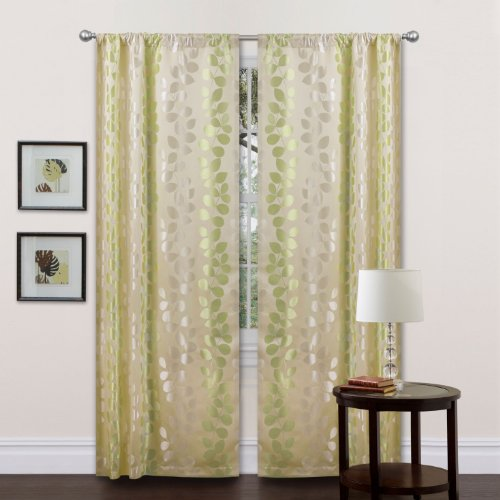 Triangle Home Fashions 18818 Lush Decor 84-Inch Teardrops Curtain Panels, Beige/Green, Set of 2 (Lush Triangle Home Fashions Decor)