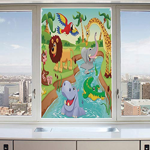 3D Decorative Privacy Window Films,Cartoon Safari African Animals Swimming in the Lake Elephant Lions And Giraffe Art,No-Glue Self Static Cling Glass film for Home Bedroom Bathroom Kitchen Office ()