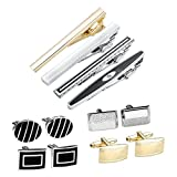 JOVIVI 12pcs Stainless Steel Men's Classic Silver Cufflinks and Tie Bar Set for French Cuff Dress Shirts with Gift Box (Set #6)