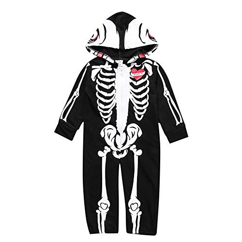 Baby Halloween Party Costume,Kehome Toddler Infant Baby Boy Hooded Skull Skeleton Romper Jumpsuit Outfits Clothes Black 0-6 Months