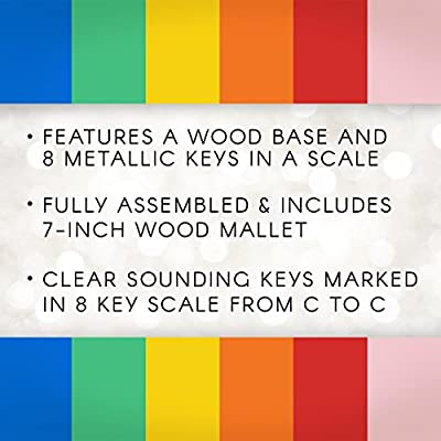 """Darice Xylophone – Wood Base with 8 Metal Keys in a Scale – Includes 7"""" Wooden Mallet – Can be Painted to Customize Instrument – Makes a Gift – Ages 3+ -Fully Assembled, 11.5"""", Assorted: Arts, Crafts & Sewing"""