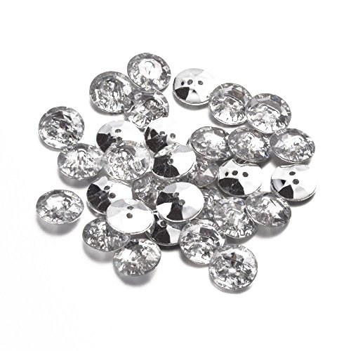 Pandahall 50pcs Acrylic Faceted Crystal Clear Rhinestone Sewing Fastening Buttons 2-Hole with Silver Plated Rivoli Back Hole: 1mm Flat Round ()